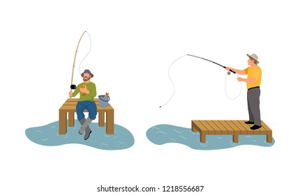 Fishing men on wooden pier dock. Man with rod spinning. Catching fish animal process by river or lake, set of persons isolated on vector illustration