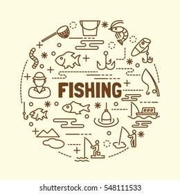 fishing ,minimal thin line icons set, vector illustration design elements