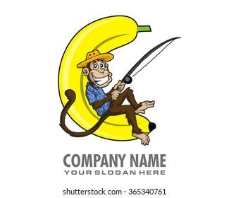 fishing monkey cartoon character mascot image icon