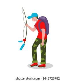 Fishing in nature. Fishing, quiet hunting. Vector character man on a white background goes with a fishing rod and a backpack for fishing.