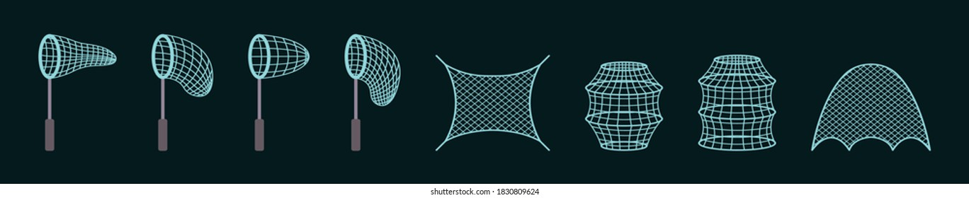 fishing nets modern cartoon icon design template with various models. vector illustration isolated on dark background