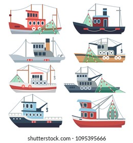 Fishing ocean boats. Commercial trawlers, fisherman ships sea and river vessels isolated vector set. Illustration of catch fish, nautical transport industry