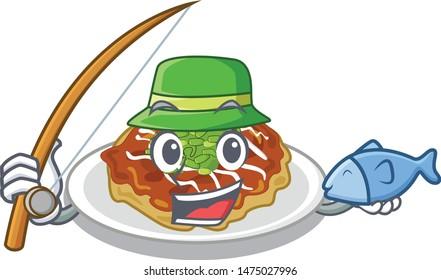 Fishing okonomiyaki isolated with in the character