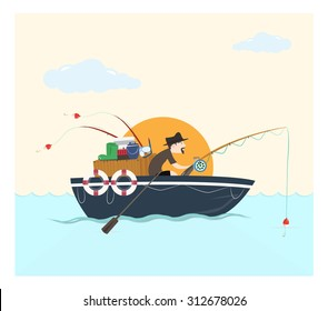 Fishing on the boat, vector illustration.