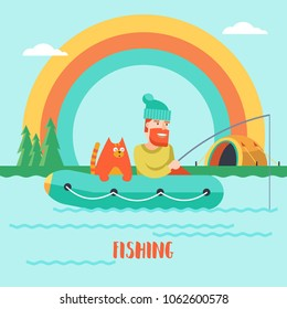 Fishing on the lake with a friend. The fisherman and the cat in a rubber boat angling. Tent on the lake at the foot of the mountains. Tent on the shore of the lake under the rainbow.