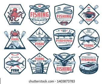 Fishing outdoor adventure icons, tuna, trout and eel big fish catch tournament. Vector fisherman store signs, seafood octopus, squid and crab, paddle boat and rod hook, bait lures for pike and carp