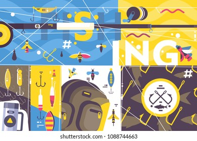 Fishing outdoor recreation. Abstract background, rod and hooks to catch fish. Vector illustration