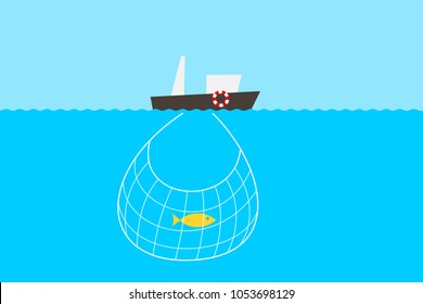 Fishing and overfishing problem - lack of fishes in the sea an ocean. Fisherman's boat and shortage and deficiency of marine animal in the net. Vector illustration