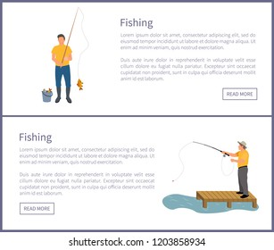 Fishing people wearing waders and special clothes on posters set. Man catching fish and put in bucket. Man standing on wooden pier vector illustration