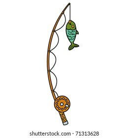 Fishing pole and reel with fish.