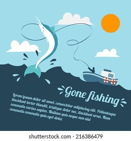 Fishing poster with boat and fishermen catching swordfish vector illustration