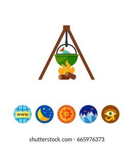 Fishing pot over campfire vector icon