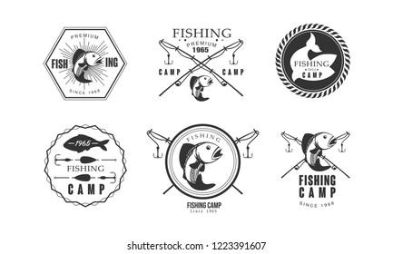 Fishing premium camp since 1965 logo design, wildlife, travel, adventure retro labels vector Illustration on a white background