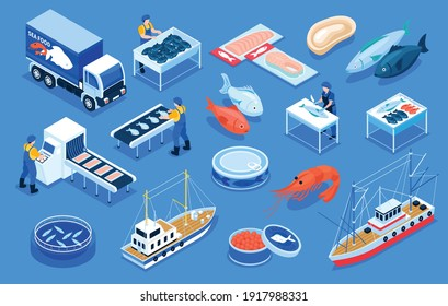 Fishing production color set of delivery transport fresh and salt fish products canned red caviar shrimps on blue background  isometric vector illustration