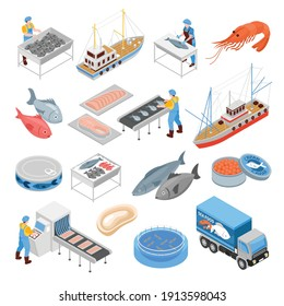 Fishing production isometric set of vessels sea food delivery truck conveyor for processing fish products isolated vector illustration