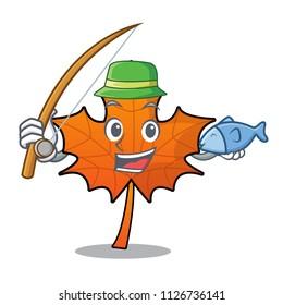 Fishing red maple leaf mascot cartoon