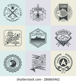 Fishing Retro Design Insignias Logotypes Set . Vector Elements Illustrations.