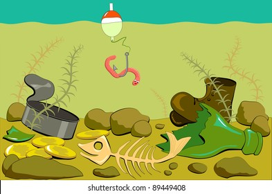 Fishing in the river with polluted bottom