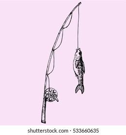 Fishing Rod Sketch Images Stock Photos Vectors Shutterstock