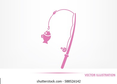 Fishing Rod and a fish icon vector illustration eps10
