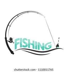 Fishing rod and float on the wave symbol for fishing