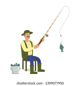 Fishing Rod in Hand. Fish in Bucket. Catch Fish. Fish on Hook. Hobby Fishing. Fisherman Clothes. White Background. Vector Illustration. Fisherman with Fishing Rod on White Background.