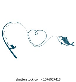 Fishing rod heart and fish on hook vector