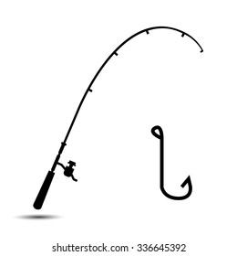 fishing rod and hook icon