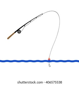 fishing rod with a hook on the waves of the sea