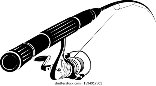 Fishing rod with a reel and fishing line silhouette for hobbies