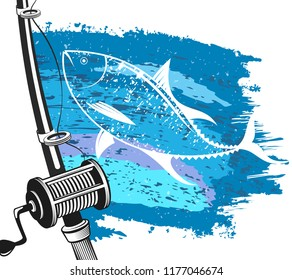 Fishing rod for fishing for tuna and the wave