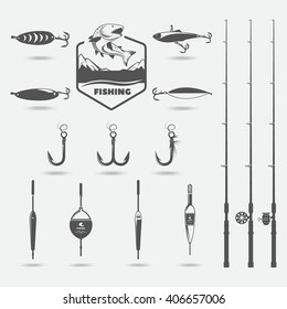 fishing rods, fishing hooks, lure for fishing, floats, set for hobby