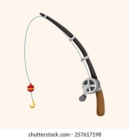 Fishing rods theme elements