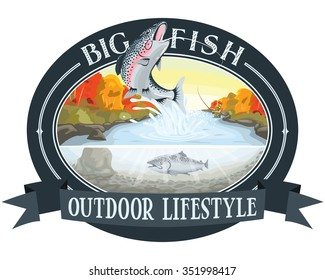 "Fishing Salmon River, Outdoor Lifestyle, ""Big Fish"" logo"