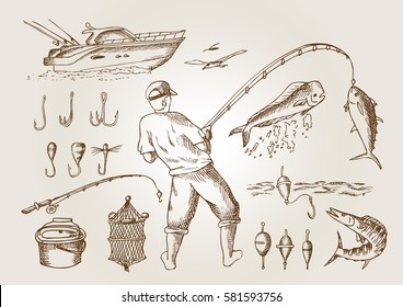 Fishing in the sea. Outline