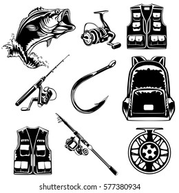 Fishing set of Bass, jacket, rod, back pack, hook and reel isolated on white.