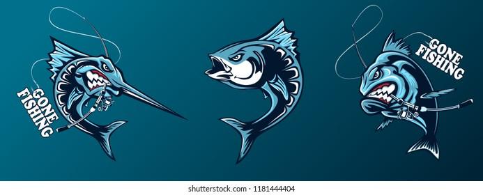 Fishing set of ocean fish. Marlin. Sword fish. Piranha. Marine theme. Ocean fishing background. Logos for fishing club.