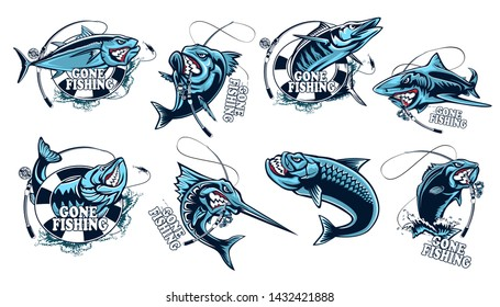 Fishing set of ocean fish. Marlin. Sword fish. Piranha. Sea bass. Shark. Tuna. Wahoo.  Marine theme. Ocean fishing background. Logos for fishing club. Fish vector collection. Tuna. Marlin.
