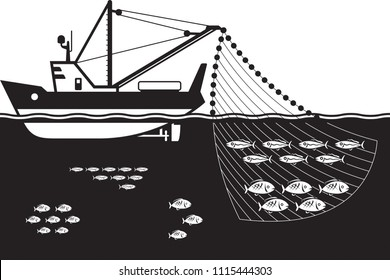 Fishing ship in the sea vector illustration