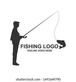 Fishing Silhouette Logo Design Vector Illustration