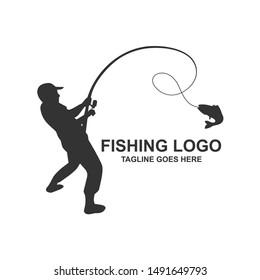 Fishing Silhouette Logo Design Vector