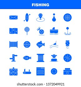 Fishing Solid Glyph Icon Pack For Designers And Developers. Icons Of Wheel, Gear, Circle, Reel, Fish, Fishing, Fishing Reel, Vector