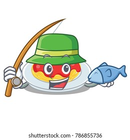 Fishing spaghetti character cartoon style