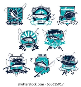 Fishing sport badge set. Bass, trout, salmon, tuna, perch and flounder fishing symbol of fish with fishing rod and hook on heraldic shield with ribbon banner for fishermen club or tournament design