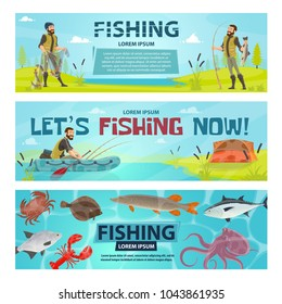 Fishing sport banners design of fisherman on fishing with rod in inflatable boat. Vector flat design of fisher tackles, baits and fish or seafood catch of lobster, flounder or trout and octopus