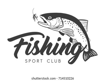 Fishing Sport Club logo. Hand drawn lettering. Vector illustration.