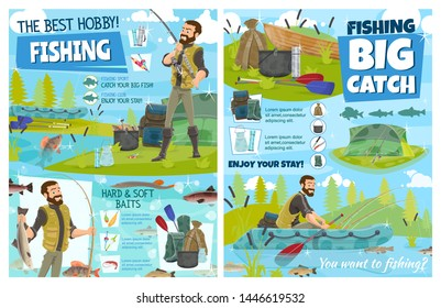 Fishing sport equipment, fisherman baits and tackle vector design. Fisher or angler with fishing rod, boat and fish catch, hook and lure, salmon, cod and perch, carp, trout and pike, tent and backpack