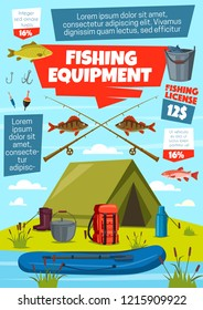 Fishing sport equipment and fisherman tackle with fish catch. Vector lure, bait and hook, rod, net and boat, bobber, reel and bucket, tent, boots and backpack on riverbank with salmon, trout and bass