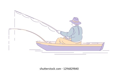 Fishing sport or hobby fisherman in boat with rods vector man in hat holding spinning catching fish in river or lake outdoor activity or pastime fishery equipment angling isolated male character.