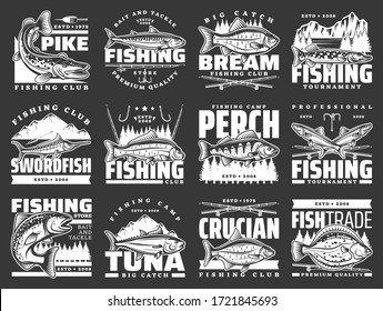 Fishing sport leisure, fish hooks and lure rods vector icons. Fishing club big fish catch tournament for tuna and crucian, pike and flounder, perch, sea mackerel and swordfish, baits and tackles store